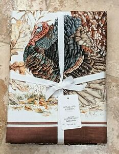 WILLIAMS SONOMA~AUTUMN PLYMOUTH TURKEY THANKSGIVING TABLECLOTH~90/108/126/144