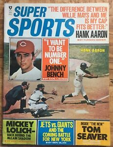 1970 Oct. Super Sports Baseball magazine, Hank Aaron, Braves, Johnny Bench