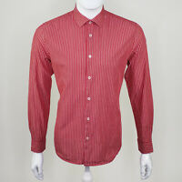 H&M Men's Red White Striped 100% Cotton Long Sleeve Button Up Size Medium M