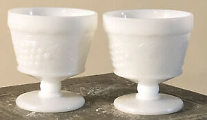 2 Vintage Milk Glass Opaque White Grape & Leaves Sherbet Footed Dessert Cups