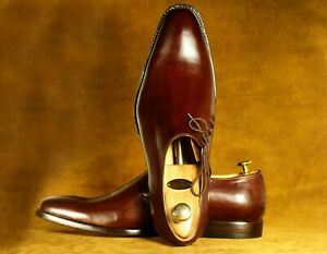 Handmade Men Oxford Leather Burgundy Shoes Trendy Dress Fashion Shoes For Men's