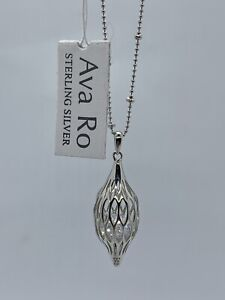 """Ava Ro .925 Sterling Silver Cage Drop Pendant Necklace 18"""" Sterling Silver NWT"""