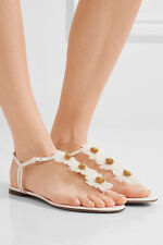 $695 size 37 US 7 Charlotte Olympia Posey White Leather Thong Flower Sandals