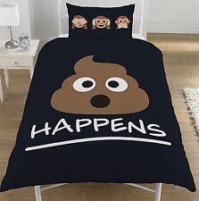 Sh*t Happens Novelty Single Reversible Duvet Cover Bed Set Black