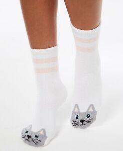 Charter Club Super Soft Cozy Critter Socks White Cat