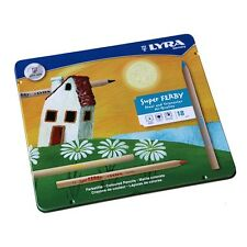 LYRA COLOR SUPER FERBY COLOURING PENCILS TIN of 18 NATURAL WOOD FINISH