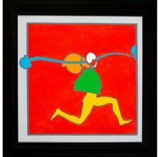"Peter Max -- Running Man, 1972 Silkscreen w/hand coloring on canvas - 25"" x 25"""
