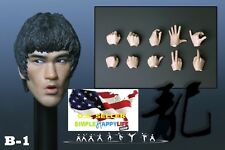1/6 Bruce Lee Head Sculpt 8.0 open mouth w/ hands for Hot Toys Phicen M32 ❶USA❶