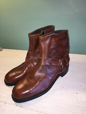 Vintage Men's Lehigh 10 1/2  Brown Leather Safety Ankle Harness Motorcycle Boots