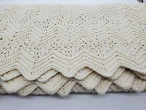 Vtg Afghan Crochet Ivory White Chevron Blanket Handmade Bed Couch Throw 66x53