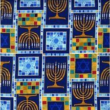Michael Miller Judaica CM6607 Royal Menorah Mosaic Metallic Cotton Fabric