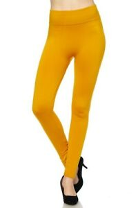 Womens FLEECE LINED LEGGINGS Thick Solid High Waisted Warm Winter Long Yoga Pant