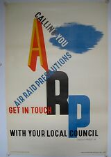 Orginal poster 1938 ARP Air Raid Precautions by Edward McKnight Kauffer