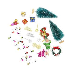 1:12 Dollhouse Merry CHRISTMAS Tree Gift Santa Claus Set Garden Ornaments