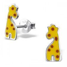 Childrens Girls Sterling Silver Giraffe Stud Earrings -Gift Boxed
