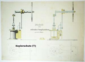Technische Handzeichnung stehende Dampfmaschine Zeichnung 1870/80 Deko !
