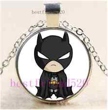 Cartoon Cute Batman Cabochon Glass Tibet Silver Chain Pendant Necklace