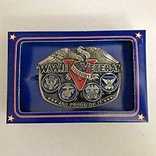 Vintage 1988 World War II Veteran Pewter and Enamel Belt Buckle in Original Box