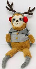 """Christmas Sloth Doll Table Top 20"""" Figurine Dangling Legs Reindeer Brown Earmuff"""