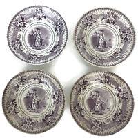 Antique 1830s English Purple Transferware Swiss Boy Jackson's Warranted Bowls 4