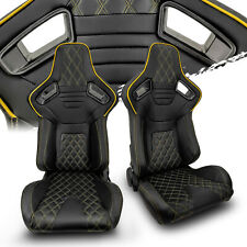Black Pvc Leatheryellow Stitch Leftright Recaro Style Racing Seats Pair
