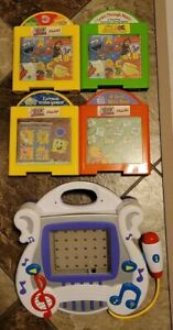 2002 Mattel Learn Through Music Touch Pad Game Player 89452, 4 Cartridges