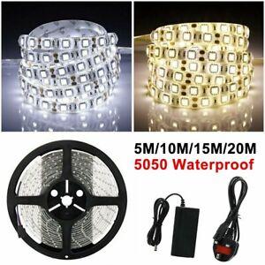 5-20m Flexible 300 LED Strip Lights 12V Waterproof 3528 5050 SMD Cool Warm White