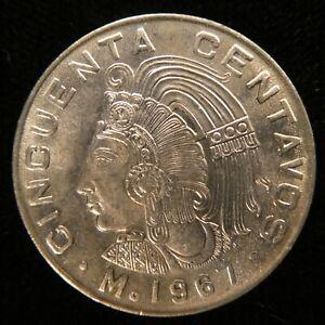 1967 Mexico 50 Centavos Cuauhtemoc  Aztec Warrior Copper Nickel km-451 (326)