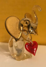 Elephant Blown Glass Crystal Gold Minature Figurine w/ Heart