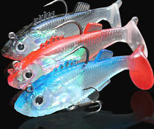 6* Soft Lures Fish Saltwater Fishing Lures Bass 2 Hook Baits Tackles Freshwater