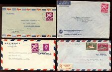 CURACAO 1949-63 AIRMAIL + REGISTERED...4 COVERS to GB + USA