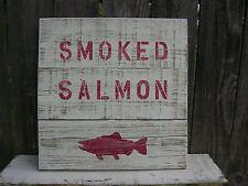 16 INCH WOOD CEDAR HAND PAINTED SMOKED SALMON SIGN NAUTICAL MARITIME (#S194)
