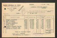 CONTRES (41) BANQUE REGIONALE DE L'OUEST / Vente d'Actions en 1953