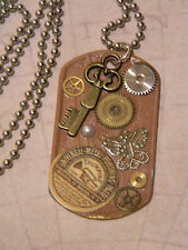 Steampunk Collage Pendant Watch Gears Cogs Key Butterfly Dog Tag Necklace D152