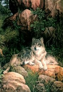 """Larry Fanning """"Soul Mates"""" - Gray Wolves - AP Limited Edition Lithograph"""
