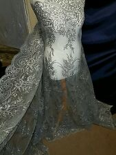 """2.5 m grey lace Embroidery sequin  Fabric scalloped  Floral  lace Wedding 52 """""""