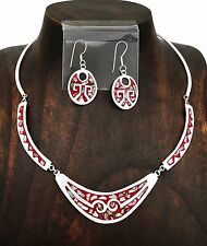 Southwestern Red Geometric Abalone Necklace and Earring Set from Taxco Mexico