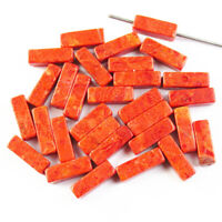 10Pcs 14x4mm Red Coral Oblong Pendant Bead Diy Jewelry Making