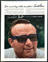 1969 Golf Legend Arnold Palmer photo wearing Ray-Ban Sunglasses vintage print ad
