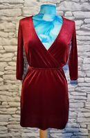 SEXY H&M DIVIDED VELVETY RED  SHORT WRAP FRONT DRESS SIZE 10/12