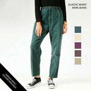 VINTAGE LEE ELASTICATED HIGH WAISTED WOMENS RELAXED TAPERED COLOURED MOM JEAN...