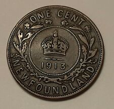 1913 Newfoundland Large One Cent Coin (95% Copper) - King George V