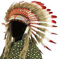 Indianischer Kopfschmuck Chief Federn Bonnet Indianer Gringo ROT SCHWARZE PUNKTE
