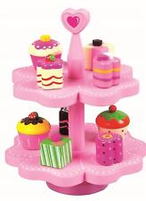 LELIN WOODEN WOOD CHILDRENS KIDS MAGNETIC CAKE MUFFIN TEA PARTY FOOD STAND TOY