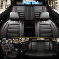 Deluxe Edition Black Leather 5D Car Seat Cover Interior Accessories For 5-Seats