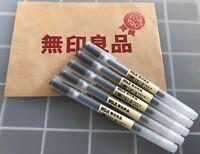 MUJI MoMA  0.38mm Non-Toxic Gel Ink BLACK 5 Pens F/S from Osaka Japan