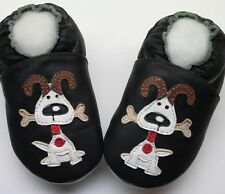 minishoezoo soft sole leather baby walking shoes 12-18m dog black