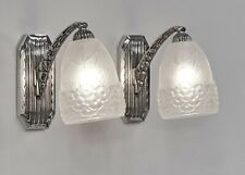 HETTIER & VINCENT : pair of French 1930 art deco wall sconces .... lamp . France