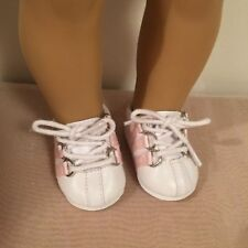 """White Leather Doll Sneakers With Pink Stripes for 18"""" Doll"""