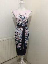 GORGEOUS  DEBUT/DEBENHAMS SATIN FLORAL FITTED EVENING DRESS SIZE 14